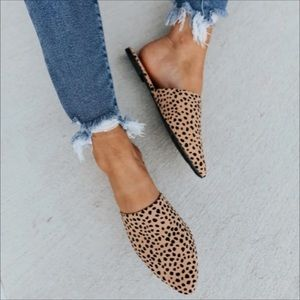 Cheetah Leopard Spotted Mules Slides Size 6.5